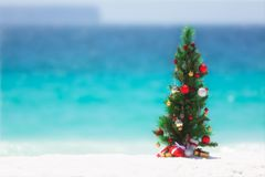 Christmas tree on the beach in summer. Christmas tree decorated with colourful baubles and presents underneath it, stands on a beautiful sandy beach with Stock Image