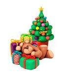Christmas tree and bear Stock Photography