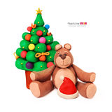 Christmas tree and bear Stock Images