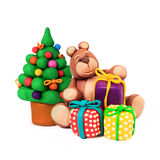 Christmas tree and bear Royalty Free Stock Images