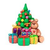 Christmas tree and bear Stock Image
