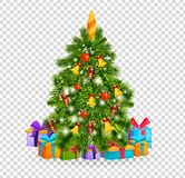 Christmas tree with beautiful balls, decorations. Gifts under christmas tree. Merry Christmas. Beautiful realistic Christmas tree on transparent background with royalty free illustration