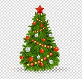 Christmas tree with beautiful balls of toys, decorations, festive garlands. Merry Christmas. Beautiful realistic Christmas tree on transparent background with Stock Photo
