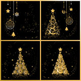 Christmas tree beautiful, cards for your design Royalty Free Stock Photos