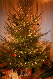 Christmas tree with beautiful decorations, fairy lights and presents underneath royalty free stock photos