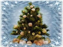 Christmas tree with beautiful fresh flowers stock photography