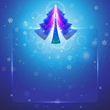 Christmas tree on a beautiful snowy background Stock Photos