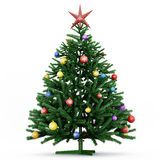 Christmas Tree. With beautiful toys and red star stock illustration