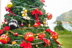 Christmas Tree On Beautiful Tropical Background Stock Photo