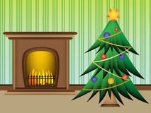 Christmas tree with beautiful warm fireplace. Cute Stock Photo