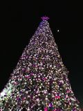 Christmas tree is beautifully decorated at night stock photos