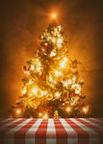 Christmas Tree Behind Dining Table stock photos