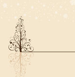 Christmas tree on beige background Royalty Free Stock Photos