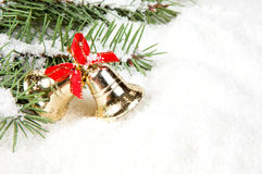 Christmas tree with bells golden Royalty Free Stock Photo