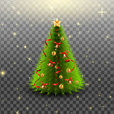 Christmas tree with bells, golden balls, red bow and ribbons, isolated on transparent background. Vector illustration. Royalty Free Stock Photo