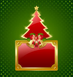 Christmas tree with bells and plaque Stock Photo