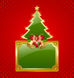 Christmas tree with bells and plaque Royalty Free Stock Photography