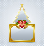 Christmas tree with bells and plaque Stock Photos