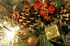 Christmas-tree with bengals decorations Stock Images