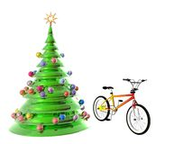Christmas Tree bicycle Stock Image
