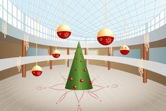 Christmas tree and big balls in shop. Green christmas tree and big balls in shop interior royalty free illustration