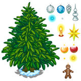Christmas tree and big toy set for decoration Stock Images