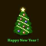 Christmas tree and billiard balls Royalty Free Stock Photos