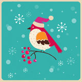 Christmas tree with bird, Greeting card Royalty Free Stock Photos