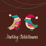 Christmas tree with bird, Greeting card Stock Images
