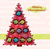 Christmas tree with birds Royalty Free Stock Image