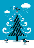 Christmas tree with birds cartoon  Stock Photo