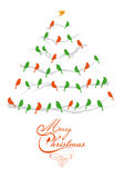 Christmas tree with birds, vector Stock Photography