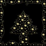 Christmas tree on black Royalty Free Stock Images