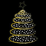 Christmas tree on black background Royalty Free Stock Images