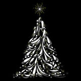 Christmas tree on black background Stock Photography
