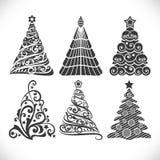 Christmas tree black shapes set Royalty Free Stock Photo