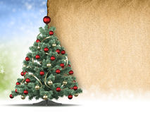 Christmas tree and blank handmade paper sheet stock illustration
