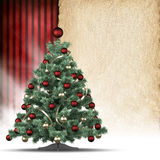 Christmas tree and blank handmade paper sheet Royalty Free Stock Images