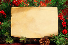 Christmas tree with blank note. Christmas tree banches with blank note Royalty Free Stock Photos