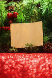 Christmas tree with blank note Stock Images