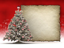Christmas tree and blank paper sheet Royalty Free Stock Photo