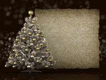 Christmas tree and blank paper sheet Stock Images