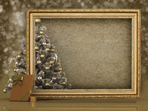 Christmas tree and blank paper sheet Royalty Free Stock Photos