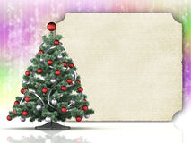Christmas tree and blank paper sheet Royalty Free Stock Photography