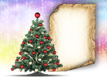 Christmas tree and blank paper sheet on colorful background Royalty Free Stock Image