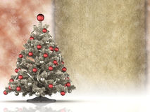 Christmas tree and blank paper sheet Stock Photography