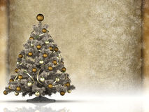Christmas tree and blank paper sheet Stock Photo