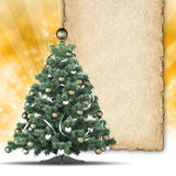 Christmas tree and blank paper sheet for text Stock Images