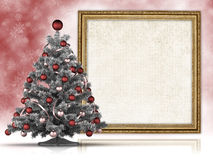 Christmas tree and blank sheet in frame Royalty Free Stock Images