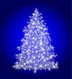 christmas tree on blue stock illustration